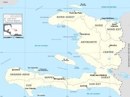 Carte des départements d'Haïti. Source : http://data.abuledu.org/URI/50e772a0-carte-des-departements-d-haiti