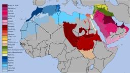 Carte des dialectes arabes. Source : http://data.abuledu.org/URI/52b573fc-carte-des-dialectes-arabes