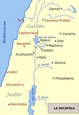 Carte des dix villes de la Décapole antique. Source : http://data.abuledu.org/URI/547f5e22-carte-des-dix-villes-de-la-decapole-antique