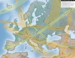 Carte des éclipses solaires en Europe entre 1801 et 1850. Source : http://data.abuledu.org/URI/550d156a-carte-des-eclipses-en-europe-entre-1801-et-1850