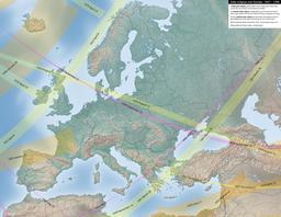 Carte des éclipses solaires en Europe entre 1651 et 1700. Source : http://data.abuledu.org/URI/550d13b9-carte-des-eclipses-solaires-en-europe-entre-1651-et-1700