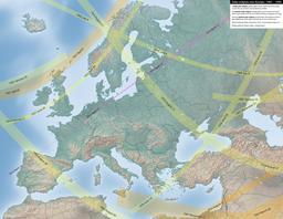 Carte des éclipses solaires en Europe entre 1901 et 1950. Source : http://data.abuledu.org/URI/550d1647-carte-des-eclipses-solaires-en-europe-entre-1901-et-1950