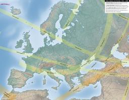Carte des éclipses solaires en Europe entre 1951 et 2000. Source : http://data.abuledu.org/URI/550d16e8-carte-des-eclipses-solaires-en-europe-entre-1951-et-2000