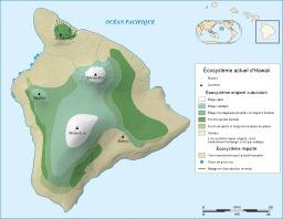 Carte des écosystèmes d'Hawaï. Source : http://data.abuledu.org/URI/5093a4af-carte-des-ecosystemes-d-hawai