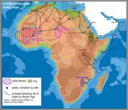 Carte des états d'Afrique à la fin du Moyen Age. Source : http://data.abuledu.org/URI/52d040b1-carte-des-etats-d-afrique-a-la-fin-du-moyen-age