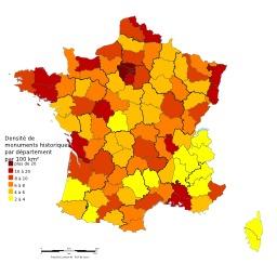 Carte des Monuments Historiques en France. Source : http://data.abuledu.org/URI/548d9218-carte-des-monuments-historiques-en-france