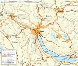 Carte des moyens de transports autour de Zurich. Source : http://data.abuledu.org/URI/5209ca11-carte-des-moyens-de-transports-autour-de-zurichg
