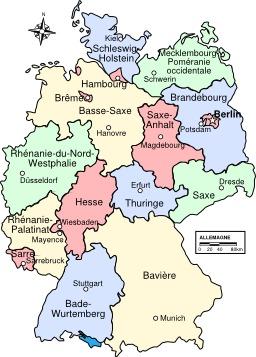Carte des pays en Allemagne. Source : http://data.abuledu.org/URI/51cf578d-carte-des-pays-en-allemagne