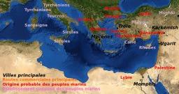 Carte des peuples de la mer sous Ramsès III. Source : http://data.abuledu.org/URI/52641d8e-carte-des-peuples-de-la-mer-sous-ramses-iii