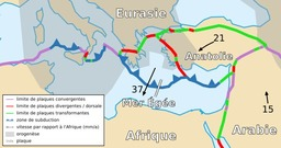 Carte des plaques de la Mer Egée et anatolienne. Source : http://data.abuledu.org/URI/5094de56-carte-des-plaques-de-la-mer-egee-et-anatolienne