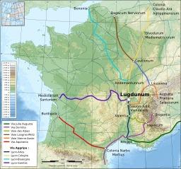 Carte des principales voies romaines en Gaule. Source : http://data.abuledu.org/URI/47f3d5ef-carte-des-principales-voies-romaines-en-gaule