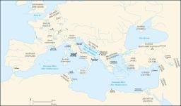 Carte des provinces romaines à l'époque de César. Source : http://data.abuledu.org/URI/50910543-carte-des-provinces-romaines-a-l-epoque-de-cesar
