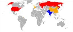 Carte des puissances nucléaires. Source : http://data.abuledu.org/URI/5042ffa5-carte-des-puissances-nucleaires