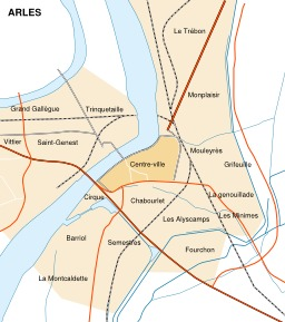 Carte des quartiers d'Arles. Source : http://data.abuledu.org/URI/51cbf6b9-carte-des-quartiers-d-arles