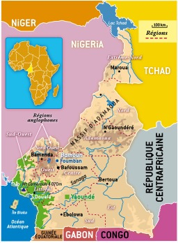 Carte des régions du Cameroun. Source : http://data.abuledu.org/URI/52daa750-carte-des-regions-du-cameroun