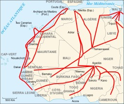 Carte des routes d'immigration africaine vers l'Europe. Source : http://data.abuledu.org/URI/548d80fc-carte-des-routes-d-immigration-africaine-vers-l-europe