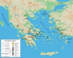 Carte des sanctuaires grecs antiques. Source : http://data.abuledu.org/URI/508faf3d-carte-des-sanctuaires-grecs-antiques