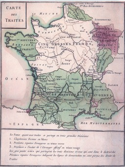 Carte des Traites en 1732 : les provinces étrangères. Source : http://data.abuledu.org/URI/52d01073-carte-des-traites-en-1732-les-provinces-etrangeres