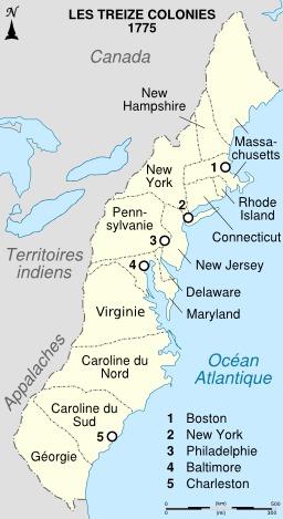 Carte des treize colonies anglaises en Amérique du Nord. Source : http://data.abuledu.org/URI/50430fe5-carte-des-treize-colonies-anglaises-en-amerique-du-nord