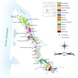 Carte des vignobles du Médoc et des Graves. Source : http://data.abuledu.org/URI/506b586c-carte-des-vignobles-du-medoc-et-des-graves