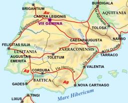 Carte des voies romaines de la péninsule ibérique en 125. Source : http://data.abuledu.org/URI/54a2f1e9-carte-des-voies-romaines-de-la-peninsule-iberique-en-125