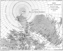 Carte des voyages du Capitaine Hatteras, de Jules Verne. Source : http://data.abuledu.org/URI/5070b64f-carte-des-voyages-du-capitaine-hatteras-de-jules-verne