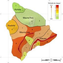 Carte des zones à risque dans l'île de Hawaï. Source : http://data.abuledu.org/URI/5093ab6b-carte-des-zones-a-risque-dans-l-ile-de-hawai