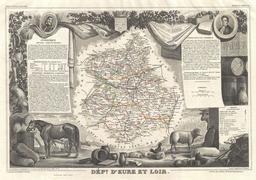 Carte du département d'Eure-et-Loir en 1852. Source : http://data.abuledu.org/URI/531cb102-carte-du-departement-d-eure-et-loir-en-1852