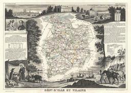 Carte du département d'Ille-et-Vilaine en 1852. Source : http://data.abuledu.org/URI/531cb1fd-carte-du-departement-d-ille-et-vilaine-en-1852