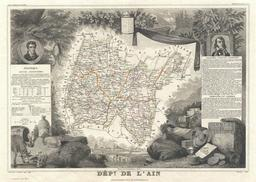 Carte illustrée du département de l'Ain en 1852. Source : http://data.abuledu.org/URI/531f5c81-carte-du-departement-de-l-ain