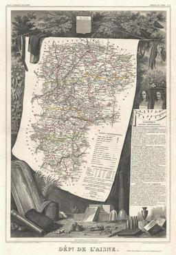 Carte illustrée du département de l'Aisne en 1852. Source : http://data.abuledu.org/URI/531f5d32-carte-du-departement-de-l-aisne-en-1852