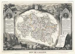 Carte illustrée du département de l'Allier en 1852. Source : http://data.abuledu.org/URI/531f5db6-carte-du-departement-de-l-allier-en-1852