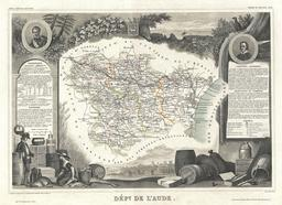 Carte illustrée du département de l'Aude en 1852. Source : http://data.abuledu.org/URI/531f6105-carte-du-departement-de-l-aude-en-1852