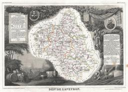 Carte illustrée du département de l'Aveyron en 1852. Source : http://data.abuledu.org/URI/531f6471-carte-du-departement-de-l-aveyron-en-1852