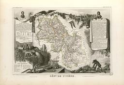 Carte illustrée du département de l'Isère en 1852. Source : http://data.abuledu.org/URI/531f793a-carte-du-departement-de-l-isere-en-1852