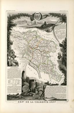 Carte illustrée du département de la Charente-Inférieure en 1852. Source : http://data.abuledu.org/URI/531f7af5-carte-du-departement-de-la-charente-inferieure-en-1852