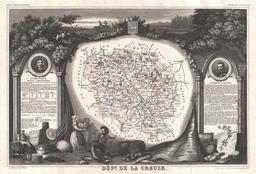 Carte illustrée du département de la Creuse en 1852. Source : http://data.abuledu.org/URI/531f6579-carte-du-departement-de-la-creuse-en-1852