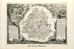 Carte illustrée du département de la Dordogne en 1852. Source : http://data.abuledu.org/URI/531f8e24-carte-du-departement-de-la-dordogne-en-1852