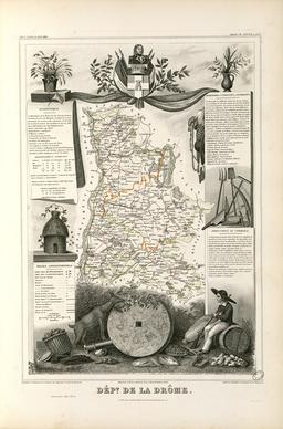 Carte illustrée du département de la Drôme en 1852. Source : http://data.abuledu.org/URI/531f8eb9-carte-du-departement-de-la-drome-en-1852