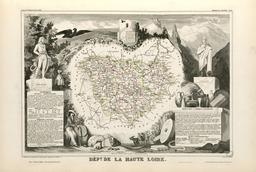 Carte illustrée du département de la Haute-Loire en 1852. Source : http://data.abuledu.org/URI/531f8fc6-carte-du-departement-de-la-haute-loire-en-1852