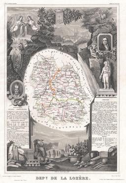 Carte du département de la Lozère en 1852. Source : http://data.abuledu.org/URI/531f3ad4-carte-du-departement-de-la-lozere-en-1852