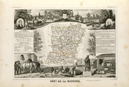 Carte illustrée du département de la Mayenne en 1852. Source : http://data.abuledu.org/URI/531f93fa-carte-du-departement-de-la-mayenne-en-1852