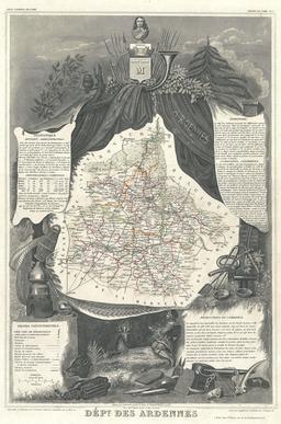 Carte du département des Ardennes en 1852. Source : http://data.abuledu.org/URI/531cacc4-carte-du-departement-des-ardennes-en-1852
