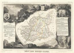 Carte du département des Basses-Alpes en 1852. Source : http://data.abuledu.org/URI/531cae3c-carte-du-departement-des-basses-alpes-en-1852