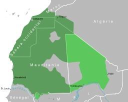Carte du dialecte Hassanya en Afrique. Source : http://data.abuledu.org/URI/548d846a-carte-du-dialecte-hassanya-en-afrique