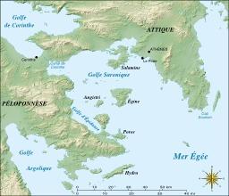 Carte du golfe de Saronique. Source : http://data.abuledu.org/URI/50561978-carte-du-golfe-de-saronique