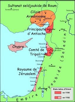 Carte du Levant en 1190. Source : http://data.abuledu.org/URI/51f2ffae-carte-du-levant-en-1190