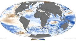 Carte du monde du niveau de la mer en  2011. Source : http://data.abuledu.org/URI/56c3263b-carte-du-monde-du-niveau-de-la-mer-en-2011