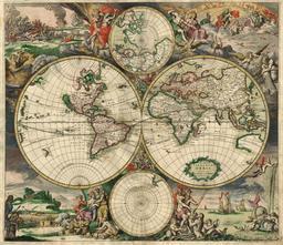 Carte du monde en 1689. Source : http://data.abuledu.org/URI/56c38d0f-carte-du-monde-en-1689