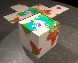 Carte du monde en cube. Source : http://data.abuledu.org/URI/52f4c198-carte-du-monde-en-cube